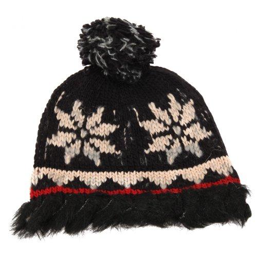 SUPERBE bordeaux imprimé léopard Pompon en fourrure synthétique Maille Hiver Beanie Chapeau de Noël
