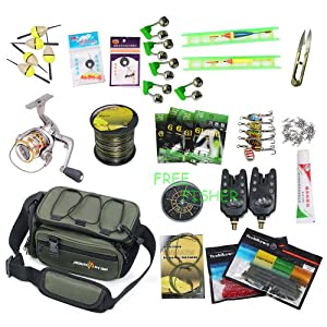Carp Fishing Kit Alarms Swivels Bobbers Bag Spinners Nylon Line Sinkers Glow Sticks by FreeFisher