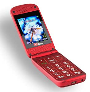 TTfone Venus TT700 Big Button Flip Sim Free Mobile Phone - Red