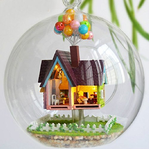 Singeek Mini Aegean Sea hanging wooden house model, DIY Glass Ball Doll House Model,Miniature Dollhouse Toy Valentine's Day Birthday Christmas gift Gift (Seeing And Making In Architecture compare prices)
