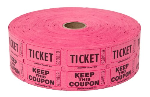 Two (2) Rolls of Two-part Hot Pink Double Roll Raffle Tickets Totaling 4,000 Tickets (Two Part Raffle Tickets compare prices)