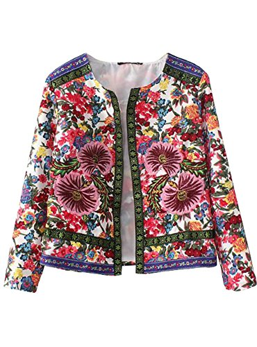AngelClothing Women Fall Vintage Flower Windproof Trench Cardigan Jacket