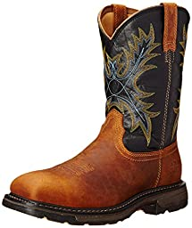 Ariat Men\'s Workhog Wide Square Toe H2O Steel Toe Work Boot, Aged Bark/Black, 9.5 EE US
