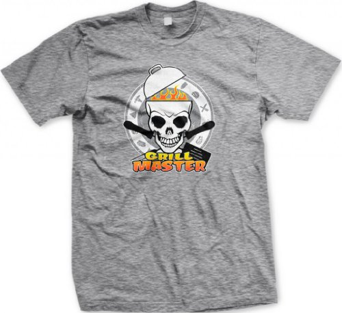 Grill Master Men'S T-Shirt, Funny Grilling Bar-B-Que Grill Master Skull Design Men'S Tee (Light Gray, Large)