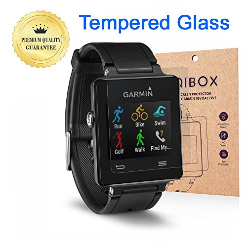 Garmin Vivoactive Tempered Glass Screen Protector (2-Pack), QIBOX 9H Hardness Multi-layer Explosion-proof and Anti-Bubble Screen Guard for Garmin Vivoactive