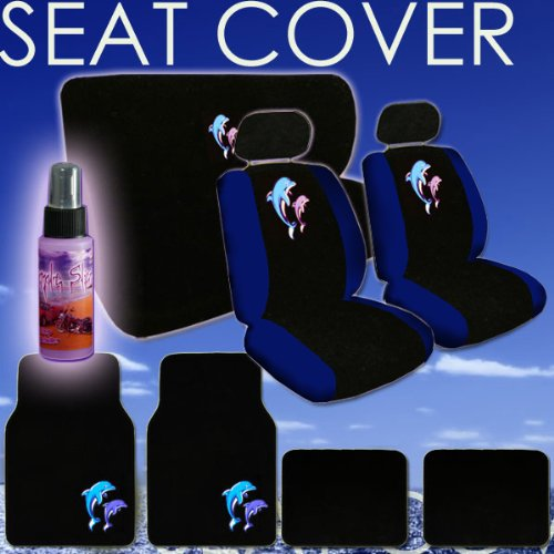 16 Piece Auto Interior Gift Set - 2 Dolphin Design Front Low Back Universal Size Bucket Seat Covers (in 4 pieces), 2 Head Rest Covers, 1 Dolphin Logo Rear Seat Cover (in 2 pieces), 1 Steering Wheel Cover, 2 Shoulder Harness Pressure Relief Cover, 2 Carpet Vinyl Dolphin Logo Front Floor Mats, 2 Plain Black Rear Floor Mats and a 2 oz Purple Slice Car Wash Free Detailer/Multipurpose Cleaner