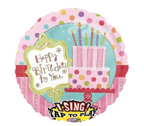"Anagram International 85833P Cake Happy Birthday S-A-T Balloon, 28"", Pink"
