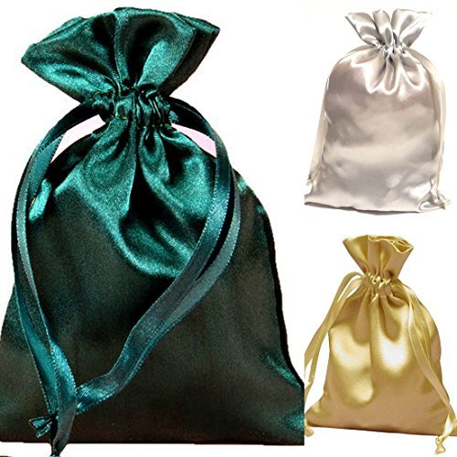 "Tarot Bags Holiday Colors Satin Bundle of 3: Forest Green Silver and Gold (6"" X 9"" Each)"