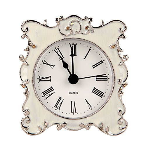 NIKKY HOME Pewter Pretty Small and Cute Table Clock with Quartz Analog Crystal Rhinestone 3'' for Living Room Bathroom Decoration , White Enamel (Bathroom Table White compare prices)