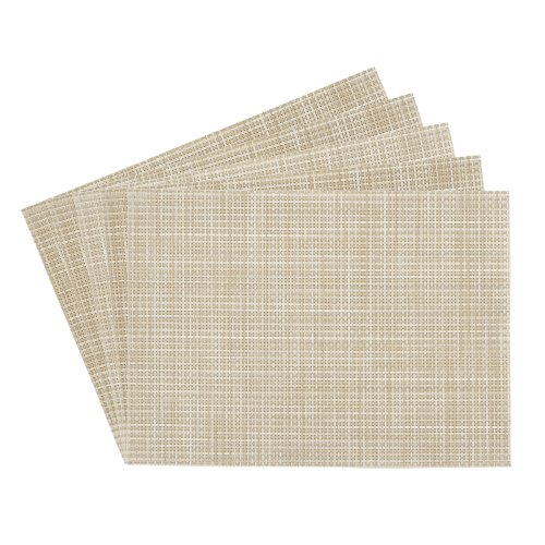 Benson Mills Longport Crossweave Woven Vinyl Placemat, Beige, Set of 4