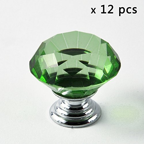 IQUALITE 12pcs Diamond Shape Crystal Glass 30mm Cabinet Door Knob Green (Dressers With Glass Doors compare prices)