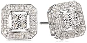 DiAura Sterling Silver Diamond-Accented Square Stud Earrings (.11 cttw, I-J Color, I2-I3 Clarity) from Amazon Curated Collection