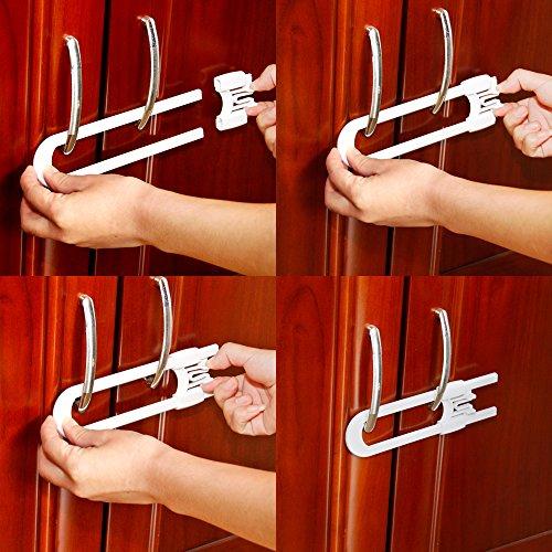 Baby commander Child Safety Adjustable Sliding Cabinet locks,Baby Proof Extra Long Durable U Shape Latch Locks for Home kitchen,bathroom,storage door (2PACK)