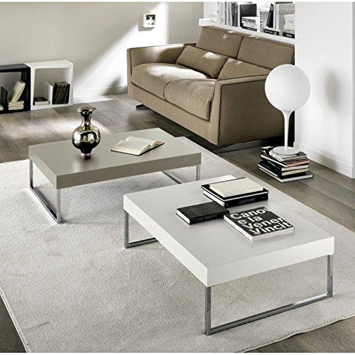 Tavolino salotto metallo cromato e MDF laccato Design Grigio Tortora