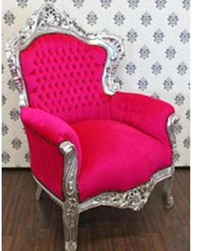 Baroque Armchair 'King' Pink / Silver