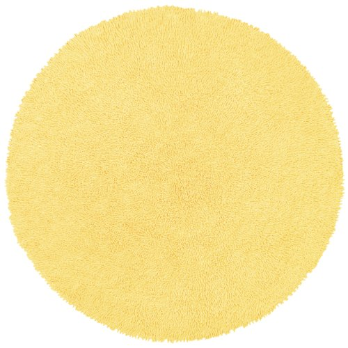 Shagadelic Chenille Twist Round Rug, 5 by 5-Feet, Yellow