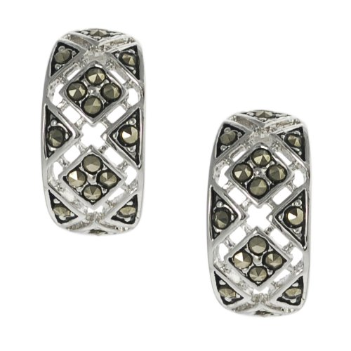 Silvertone Lab-created Marcasite Hoop Earrings