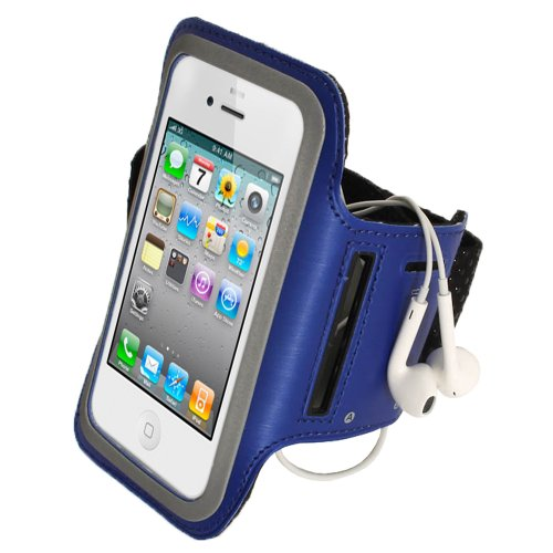 Igadgitz Blue Reflective Anti-Slip Neoprene Sports Gym Jogging Armband For New Apple Iphone 5, 5S, 5C Cell Phone 4G Lte