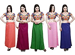 Pistaa combo of Women's Cotton Peach, Magenta, Pak Green, Pastle Pink and Purple Color Best Indian Readymade Inskirt Saree petticoats