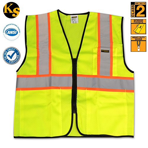 KwikSafety Class 2 Safety Vest High Visibility Reflective Safety Vests 3 Pocket Heavy Duty Zipper Construction Reflective Contrasting Trim Meets ANSI/ISEA 107-2010 Class 2 Level2 Yellow Size 4XL/5XL
