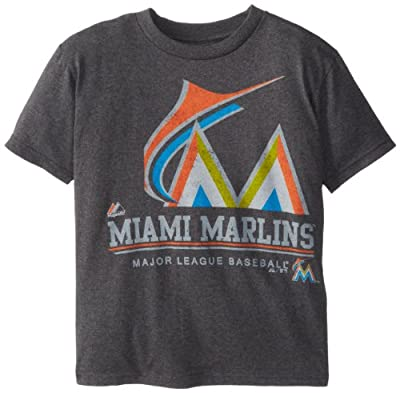 MLB Majestic Miami Marlins Youth Submariner T-Shirt - Charcoal