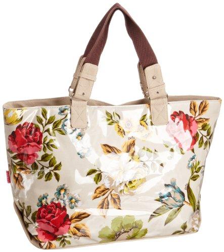 Lulu Australia Womens Rosa Rose Pool Canvas & Beach Tote Bag Beige Floral CRR-POL