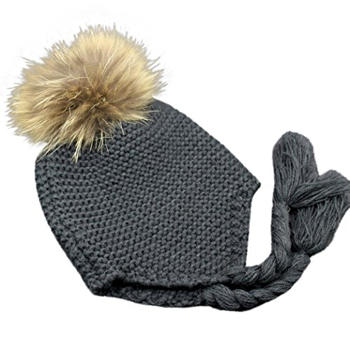 Tenworld Infant Toddler Kids Winter Warm Knitted Cap Hat With Earmuffs (Gray)