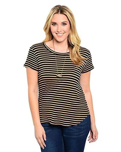 Club LA Plus Women's Striped Top  [Black/Taupe]