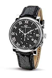 Philip Men's Wales Chronograph Watch R8271693025 with Quartz Movement, Black Dial and Stainless Steel Case