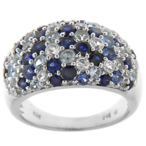Sterling Silver Shades of Blue Gemstone Cluster Ring, Size 8
