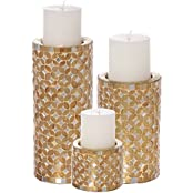 Aadyan Creations Set Of 3 Mosaic Candle Stands With 3 Pillar Vanilla Fragrance Candles - B01IOURZW8