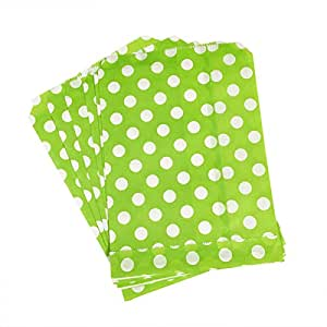 PrettyurParty Green Polka Dot Favor Bag