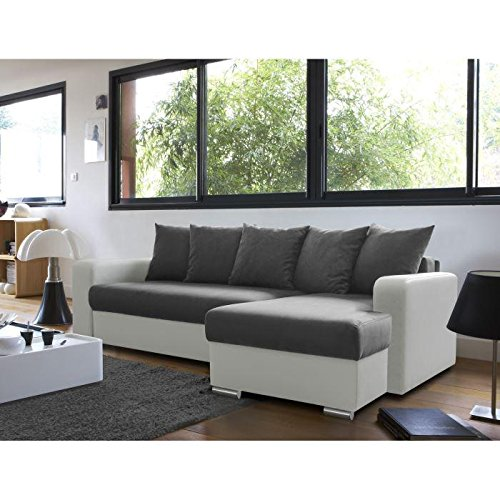ANDY Canapé convertible lit + coffre angle droit 3 places gris blanc