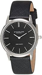 Stuhrling Original Men's 238.32151 Classic Ascot Newberry Quartz Super Slim Black Leather Strap Watch