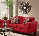 Roundhill Furniture Microfiber Loveseat with 2 Pillows, Patriot Red