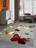 Kinderteppich Spielteppich Kinderzimmer Teppich Schmetterling Design mit Konturenschnitt Braun Beige