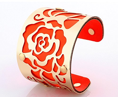 18K Gold plated Cuff Bracelets H Love The Rose Flowers Bangles For Women Orange-Gold (Louis Vuitton Shoes For Women compare prices)