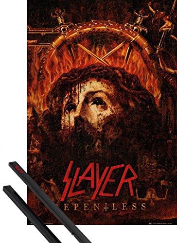 Poster + Sospensione : Slayer Poster Stampa (91x61 cm) Repentless E Coppia Di Barre Porta Poster Nere 1art1®
