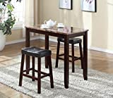 Roundhill 3-Piece Counter Height Glossy Print Marble Breakfast Table with Stools