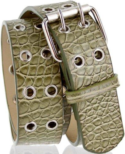 "Super 7 Alligator Embossed Casual Jean Belt for Women (Large(35""-37"") Total Length 41"", Green)"