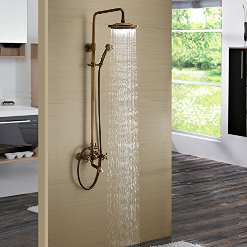 Lightinthebox Antique Inspired Solid Brass Bath Tub Mixer Taps Shower Faucet with 8 Inch Round Fixed Shower Head and Handheld Showerhead Bathroom Shower System Set Faucet Ceramic Valve Included Cooper Bronze Lavatory Plumbing Fixtures (Shower Head Antique Brass compare prices)