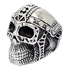 buy Mens Stainless Steel Finger Rings Iron Man Skull Head Black Grey Size 10 - Adisaer Jewelry