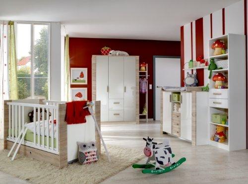 8tlg. Babyzimmer Fiona Kinderzimmer Schrank Bett Wickelkommode Standregal Hochglanz Front