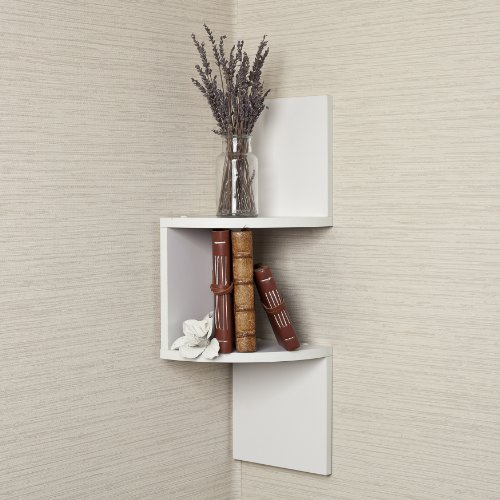 Laminated Corner Shelf in White Finish
