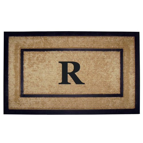 Creative Accents Single Picture Black Frame with Coir Rubber Border Dirt Buster Mat, 22 by 36-Inch, Monogrammed R (Monogrammed Outdoor Mats compare prices)