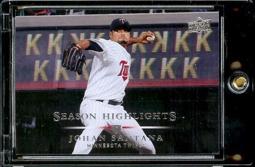 2008 Upper Deck # 393 Johan Santana Hl Twins Season Highlight Mlb Baseball Trading Card In A Protective Screwdown Display Case