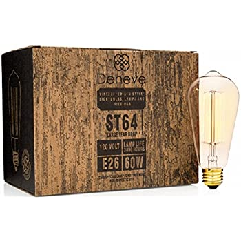 Edison Light Bulbs by Deneve - Deluxe 6-Pack - Thomas Edison 60w Antique Chandelier Lights Bulb Lamp - Vintage Modern Warm Clear Glass Teardrop Edison String Style Squirrel Cage Filament Lighting