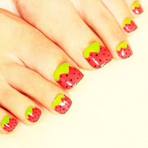 COCO つけ爪 ネイル 華やか フラワー 華麗 な いちご 足の爪 自然な 透明感 つけ爪 のりセット 24片 自分の爪に合わせて選ぶ フリーサイズ