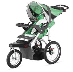 Schwinn Turismo Single Swivel Stroller, Green/Black