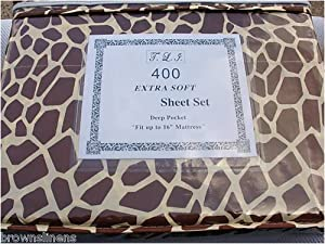 "NEW ANIMAL PRINT SHEET SETS - DEEP POCKET - FITS UP TO 16"", KING, LEOPARD"